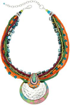 Aris by Treska Multi Strand Pendant Necklace