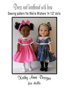 This is a PDF sewing pattern, not a finished outfit. Pattern may be downloaded immediately upon purchase. Pattern includes pattern pieces and detailed sewing instructions. Does not include cutting instructions.  Dress and headband are designed to fit new American Girl Wellie Wishers dolls. Pattern also fits Hearts 4 Hearts dolls.  Pattern is for dress with rounded collar that can be either machine embroidered (for those who have embroidery stitches built into their machines) or trimmed with…