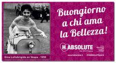 #Buongiorno a chi Ama la Bellezza! Clicca http://www.habsolute.it/ trova l'#HABSOLUTEpoint a te più vicino e regalati un Buongiorno Felice foto: Gina Lollobrigida on Vespa - 1950  HABSOLUTE HAIR SPA