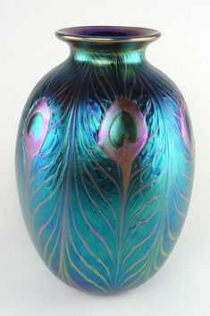 af43df725f2e Charles Lotton (B. 1935) Peacock Feather Studio Art Glass Blue Purple