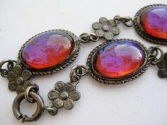 Vintage Art Deco Sterling Silver Dragons Breath Fire Opal Cabochon Link Bracelet