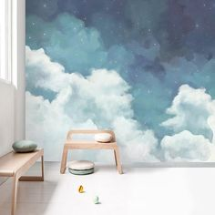 Oil Painting Dreamy Sky Clouds Wallpaper Wall Mural, Hand Painted Blue Sky with Beautiful Clouds Wall Mural, Cloudy Wall Mural Wall Decor - Wand Room Wall Painting, Mural Painting, Painting Clouds, Wallpaper Wall, Colorful Wallpaper, Office Wallpaper, Art Mural, Mural Wall, Nursery Wall Murals