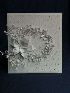 White on white card, blanco, blanc Frosted Wreath & Ponsetia on Snow Background