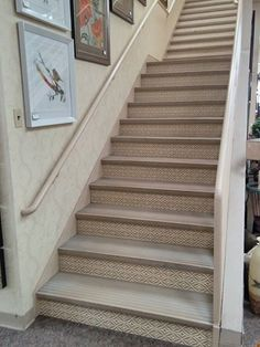 Weekend project-could easily install wallpaper on stairs in a day!  Use Sure Strip removable wallpaper and change it every year . . . or every season!