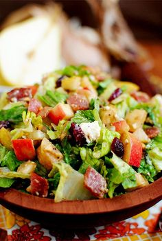 Autumn Chopped Salad...bacon, pear, apple, dried cranberries, chopped nuts, crumbled feta cheese and favorite dressing.