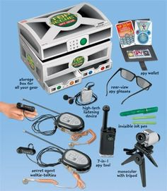 """CHILD'S SECRET AGENT SPY GEAR SET - REALLY WORKS! by T. $89.95. No mission is impossible with our state-of-the-art spy gear! Our kit has everything secret agents need-like real-working walkie-talkies, rear-view spy glasses, an invisible ink pen for secret messages...even a high-tech listening device that lets you hear conversations from up to 40 feet away! You get everything shown-all in an 11"""" storage box. 2 """"AAA,"""" 1 button cell and two 9-volt batteries not included. ..."""