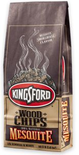 For authentic smokehouse flavor, add Kingsford® Wood Chips to your barbecue grill or smoker. Common in Southwest and Texas-style barbecue, Mesquite adds a smoky taste that compliments red meats, poultry and lamb. A little goes a long way. To prevent a bitter taste, soak all chips in water for at least 30 minutes before adding to the coals. To dial up the mesquite flavor, simply add extra chips as you grill.