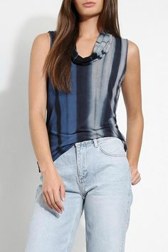 Flattering cowl neck sleeveless top in a beautiful Night Iris blue color. Made in the USA   Sleeveless Cowl Top by Three Dots. Clothing - Tops - Sleeveless Florida