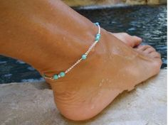 1pc Gorgeous Nice Anklet, Simple Blue Sapphire Turquoise Beads Silver Chain Foot Jewelry Ankle Bracelet Foot Jewelry