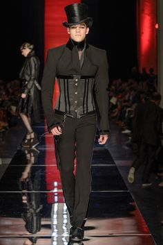Corsets on men is a thing that should happen.  Jean Paul Gaultier Couture 2013.