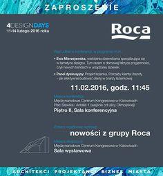 Zapraszamy na czterodniowe wydarzenie, podczas którego czołowi polscy architekci i projektanci, producenci, firmy usługowe oraz deweloperzy będą dyskutować o tym, co inspiruje i kreuje światowe trendy w architekturze i designie. W programie m.in. Projekt Łazienka - cykl sesji i prezentacji, w czasie których będziemy rozmawiać o najnowszych łazienkowych trendach :) Gośćmi panelu będą przedstawiciele Roca Polska :)