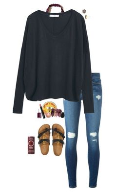 """School"" by halledaniella ❤ liked on Polyvore featuring Hollister Co., Frame, MANGO, Kendra Scott, NARS Cosmetics, MAC Cosmetics, Birkenstock, Essie and beautyblender"