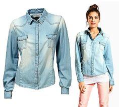 Damen Jeans BLUSE Marken Jeanshemd Western Hemd Oberteil Langarm Gr.34,36,38,40