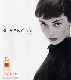 Did you know that Givenchy L'Interdit was originally created in 1957 after designer Hubert du Givenchy commissioned perfumer Francis Fabron to design it specifically for Audrey?