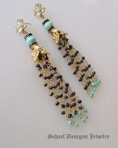 Sleeping Beauty Turquoise Spinel & Gold Vermeil | Dangle earrings