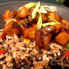 Leftover porchetta, deconstructed  pork chopped into cubes and cooked in a spicy Korean sweet n sour sauce.  The stuffing chopped added 5 spice, garlic soya sauce and made dirty rice. #food #foodphotography #foodiesofinstagram #cooking #cookingathome Dirty Rice, Rice Food, Cheap Dinners, Budget Meals, Stuffing, Pork Chops, Cubes, Great Recipes, Dinner Ideas