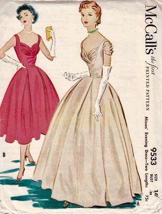 Vintage McCall's 1953 Misses' Evening Dress Pattern - Look Like Grace Kelly 1950s Formal Dresses, Formal Dress Patterns, Evening Dress Patterns, Vintage Dress Patterns, Vintage Dresses, Skirt Patterns, Coat Patterns, Blouse Patterns, Vintage Clothing