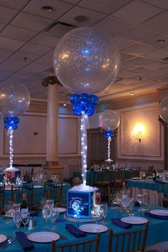 Soccer Themed Bat Mitzvah Centerpiece with Custom Logo, Photos and Sparkle Balloons with Lights