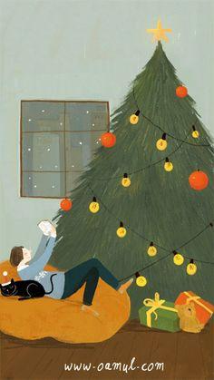 aod samsung wallpaper Eguberri on! Christmas Mood, Merry Little Christmas, Christmas And New Year, Vintage Christmas, Xmas, Christmas Illustration, Cute Illustration, Mery Chrismas, Poster S