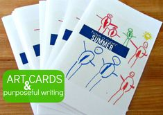 Make cards from your child's art and have your child use them for real life writing .