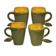 Wild Leaf Tea Co. 4 Piece Olive Color Signature Square Mug Olive Leaf Tea, Yellow Mugs, Irish Cottage, Drink Holder, Cup And Saucer, Natural Wood, Olive Green, Tea Pots, Coffee Mugs