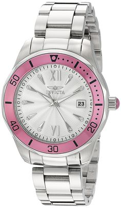 Invicta Womens Pro Diver Quartz Stainless Steel Automatic Watch ColorSilverToned Model 21906 -- Be sure to check out this awesome product. Rolex Watches, Wrist Watches, Stainless Steel Watch, Automatic Watch, Michael Kors Watch, Quartz, Mens Fashion, Link Halloween, Image Link