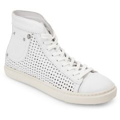 Diesel White Off Your Rocker Exposure High Top Sneakers ($140) ❤ liked on Polyvore featuring shoes, sneakers, white, white high top sneakers, lace up high top sneakers, perforated sneakers, hi tops and white trainers