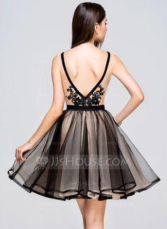 Vestidos princesa/ Formato A Decote V Curto/Mini Tule Vestido de boas vindas com Renda (022068058)