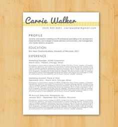 Custom Resume Writing and Design Service: Includes Resume Writing, Resume Design  - Minimalist, Modern Design - The Carrie Walker