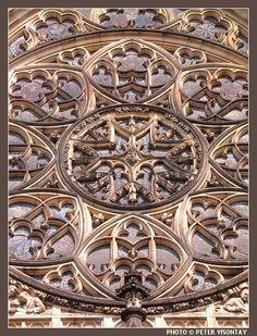 One of St Vitus cathedral's rose windows.(Prague, Czech Republic)