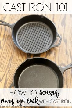 Learn how to reseason cast iron, how to clean cast iron, and how to cook with cast iron in this Cast Iron 101 post with cast iron skillet recipes! Season Cast Iron Skillet, Lodge Cast Iron Skillet, Cast Iron Grill Pan, Cast Iron Griddle, Cast Iron Cooking, Camping Dishes, Camping Desserts, Camping Meals, Iron Skillet Recipes
