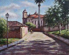 Quadro Óleo Tela Pintura Casario Mariana 33x41 Frete Grátis - R$ 350,00 em Mercado Livre