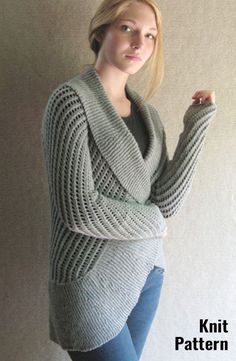 e7a702a862889 Open front shawl collar cardigan knit pattern. It has