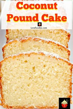 Coconut Pound Loaf Cake. Light, soft, and oh so delicious! Really easy recipe with great results every time Coconut Pound Cakes, Pound Cake Recipes, Easy Cake Recipes, Best Dessert Recipes, Baking Recipes, Oven Recipes, Köstliche Desserts, Delicious Desserts, Plated Desserts