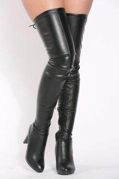 Black Faux Leather Thigh High Boots Skirts With Boots 7c1b841a8