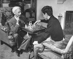 bertrand russell playing chess with his son john conrad | UCLA, los angeles, 1940