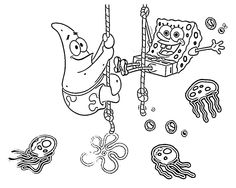 Spongebob And Patrick Having Fun Coloring Page