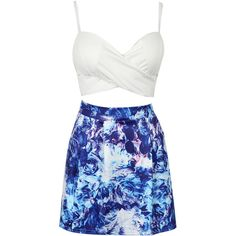 Choies White Wrap Cupped Crop Top And Blue Floral Print Mini Skirt ($22) ❤ liked on Polyvore featuring skirts, mini skirts, dresses, outfits, vestidos, white, wrap skirt, blue wrap skirt, short mini skirts and mini skirt