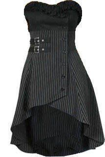 Wrap & Buckle Gothic Victorian Steam Punk Ruffle Bustier Pinstripe Waistcoat Top/Dress