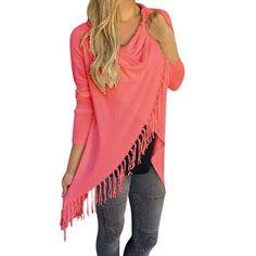 Anna 2016 Long Tassel Sweater Slim Girl Coat Jacket Knitted Cardigan Classic Diagonal Section Outwear Wrap Fringe Tassels Coat