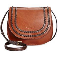 Tignanello Classic Boho Saddle Bag ($111) ❤ liked on Polyvore featuring bags, handbags, shoulder bags, rust, leather handbags, brown handbags, leather saddle bag purse, tignanello purse and real leather purses