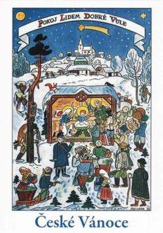 Czech Christmas I author Josef Lada Christmas Manger, Winter Christmas, Winter Holidays, Vintage Christmas Cards, Xmas Cards, Jingle All The Way, Children's Book Illustration, Christmas Inspiration, Christmas Traditions