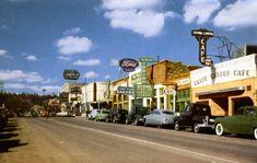 Historic U. Highway 66 Through Arizona on Vintage Postcards - Page 6 Flagstaff Arizona, Downtown Flagstaff, Route 66 Arizona, Main Street, Street View, Easy Rider, Vintage Postcards, Seattle Skyline, Maine