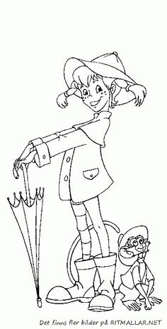 coloring page Pippi Longstocking on Kids-n-Fun. Coloring pages of Pippi Longstocking on Kids-n-Fun. More than coloring pages. At Kids-n-Fun you will always find the nicest coloring pages first! Coloring Pages For Kids, Adult Coloring, Coloring Books, Diy Crafts For Kids, Gifts For Kids, Zen Colors, Bujo Doodles, Pippi Longstocking, Kawaii Illustration