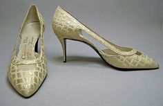 F/W 1962-1963, France - Shoes by Roger Vivier for Dior - Silk, metallic thread