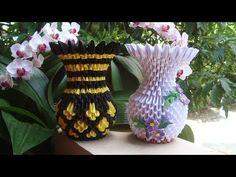 How To Make 3D Origami Flower Vase V9 | DIY Paper Flower Vase Home Decoration - YouTube