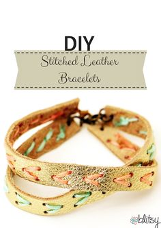 Check out this super cute DIY stictched leather bracelet! Shop now on blitsy.com for your favorite jewelry supplies!