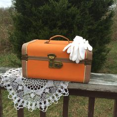 Train Case Orange Vintage Vanity Case Make Up Case Travel Case by TheCookieClutch on Etsy