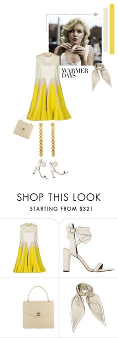 """""""""""She turned to the sunlight and shook her yellow head, and whispered to her neighbor: Winter is dead."""" ― A.A. Milne, When We Were Very Young"""" by tasteofbliss ❤ liked on Polyvore featuring Supersonic, Delpozo, IRO, Chanel, Hermès and springdresses"""