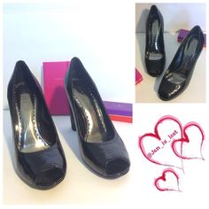 """BCBGIRLS Peep Toe Heels 4"""" wide heels with peep toes worn a few times does have scratches on the heel look at last picture.  Priced accordingly BCBGirls Shoes Heels"""